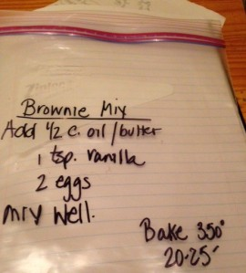 brownie mix empty bag