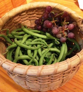 basket of oct beans and grapes