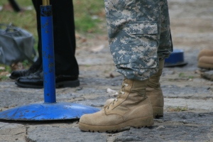 booted army feet
