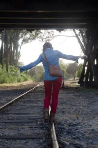 girl RR track balance