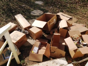 pile of empty boxes